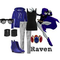 """Day 6: Raven from Teen Titans"" by sartorialistic on Polyvore"