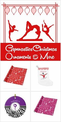 Gymnastics Christmas Goodies- Christmas ornaments, stockings, and wrapping paper all with GYMNASTICS designs!