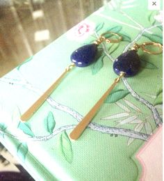 Brass Marquise Hoop Lapis Lazuli Earrings Lapis Lazuli Drop - Statement Earrings - long Earrings -