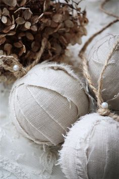 Rustic type ornaments from scraps and styrofoam balls.  Unbreakable!