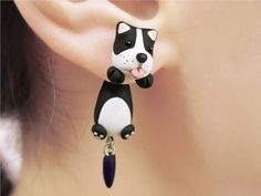 Cute Boston Terrier Dog Clinging Earring Two Part by tinyclaymade