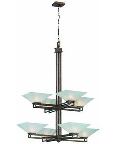 Nuvo Lighting 60-4408 Ratio Collection Eight Light Chandelier in Inca Gold Finish