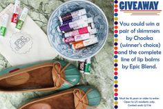 Win a pair of skimmer shoes and the complete line of lip balms!... IFTTT reddit giveaways freebies contests