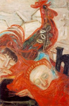 Waiting for Dawn by Imre Ámos - Imre Amos Budapest, Chicken Art, Orange Art, Jewish Art, Hanging Art, Art History, Oil On Canvas, Dawn, Old Things