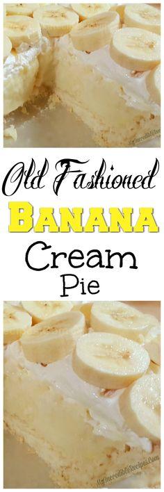 Old Fashioned Banana Cream Pie! – My Incredible Recipes (dub reggae crust for GF crust) Old Fashioned Banana Cream Pie! – My Incredible Recipes (dub reggae crust for GF crust) Just Desserts, Delicious Desserts, Dessert Recipes, Yummy Food, Dessert Bread, Dessert Tarts, Honey Dessert, Appetizer Dessert, Fruit Dessert