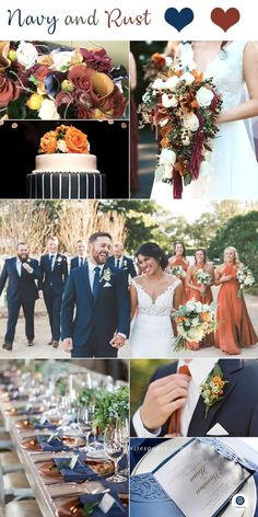 Top 8 Striking Navy Blue Wedding Color Palettes for 2019 Fall---navy blue and rust wedding dreses wedding bouquets wedding centerpeices wedding cakes diy wedding reception table settings October Wedding Colors, Winter Wedding Colors, September Weddings, Autumn Wedding Cakes, Popular Wedding Colors, Wedding Color Combinations, Wedding Color Schemes, Diy Wedding Reception, Reception Table