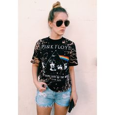 Lf Inspired Acid Wash Pink Floyd Oversized Tee ($23) ❤ liked on Polyvore featuring tops, t-shirts, grey, women's clothing, acid wash t shirt, oversized grey t shirt, vintage tops, oversized vintage tees and grey tee