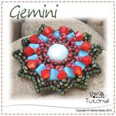 Beaded Pendant with cube beads - Gemini