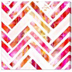 Sugar Flake Herringbone Canvas Print, Oliver Gal