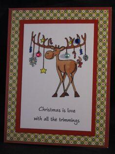 Christmas moose by ittybittycardshoppe on Etsy, $4.00