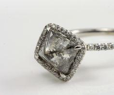 Black and White Vintage Romance-Black Rough with Platinum and colorless pave diamonds  #ditrcovet #weddingfashion
