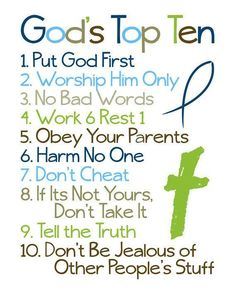 10 Commandments. Perfect for children to understand.