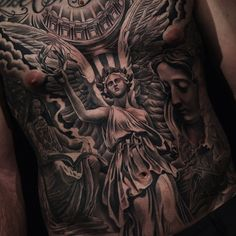 Awesome Angel Tattoo by Jun Cha. #inked #inkedmag #tattoo #realism #angel #ink #idea #angels