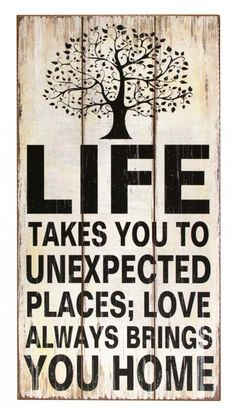 A lovely large wooden plaque ready to hang straight to your wall by the 2 hook holdings at back. Inspirational words that read Life takes you to unexpected places Love always brings you homeMakes a wonderful an thoughtful gift at an inexpensive price or simply to hang on your wall to fill space.The wooden sign measures 30 (w) x 60 (h)  x 1cm (d)