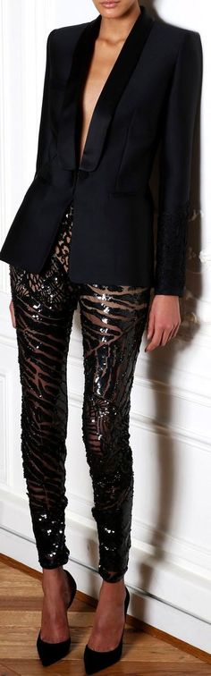 These sequin leggings are so cute with this blazer!