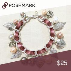 "Heart Locket Ribbon Charm Bracelet A cute charm bracelet with a heart locket at the center with ""I Love You"" engraved on it. Antiqued finish.   Adjustable 7.5""-9.5"" length  ❌ Sorry, no trades. Jewelry Bracelets"