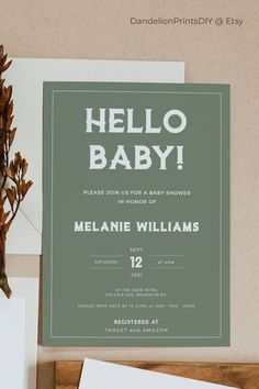 This minimalist modern baby shower card can be customized to any color theme. This card is an editable instant download template.#bohobaby #minimalistbaby Baby Sprinkle Invitations, Baby Shower Invitation Templates, Minimalist Baby, Baby Shower Cards, Boho Baby, Color Themes, Gender Neutral, Rsvp, Stationery