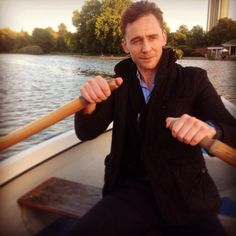 "Row row row your boat, gently down the Thames... Lol ""I'm for ever driving in puddles.""-Tom Hiddleston."