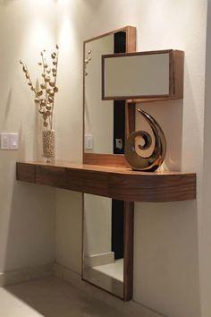 Departamento Jomap: Salas de estilo moderno por DIN Interiorismo Entry Furniture, Space Saving Furniture, Home Decor Bedroom, Room Decor, Home Entrance Decor, Spiegel Design, Dressing Table Design, Wood Interior Design, Hallway Designs