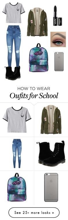 """School"" by xannagomes on Polyvore featuring Lipsy, Chicnova Fashion, Topshop, Native Union, Dr. Martens, Vans and NYX"