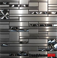 SAMPLE- Stainless Steel Metal pattern Mosaic Tile Kitchen Backsplash Wall Sink - Wall Tiles - Ideas of Wall Tiles Stainless Steel Countertops, Stainless Backsplash, Mosaic Backsplash, Kitchen Countertops, Mosaic Tiles, Backsplash Ideas, Tiling, Wall Tiles, Black Backsplash