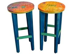 The Hug and Peace Bar Stools set of 2 top by Sticks is a set of two handcrafted wood bar stools with painted design. Artisan home furniture, made in USA. Painted Bar Stools, Wood Bar Stools, Sticks Furniture, Types Of Furniture, Hand Painted Furniture, Retro Furniture, Paint Bar, Round Stool, Wooden Tops