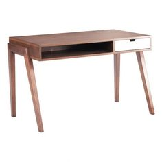 Mid-Century Modern perfection as the angled legs of the Linea Desk support a rectangular top creating a bold and distinctive design. Featuring an open shelf and contrasting bright white drawer; finished in a rich walnut finish. Solid Fir wood.