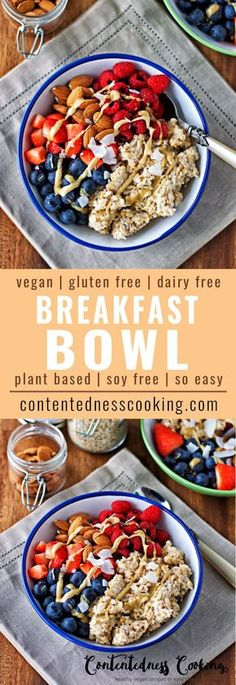 If you need an easy healthy breakfast, then my Vegan Breakfast Bowl is exactly what you need. Full of fruits, nuts, and with gluten free oats, this is not only nourishing but also delicious. If you li(Vegan Gluten Free Brunch) Vegan Breakfast Recipes, Breakfast Bowls, Healthy Breakfast Recipes, Healthy Drinks, Vegan Recipes, Cooking Recipes, Quinoa Breakfast, Healthy Food, Breakfast Ideas