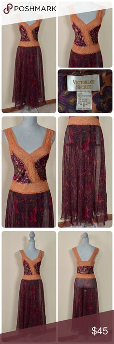 💕Vintage VS nightgown (or dress:-)💕 Stunning & unique vintage Victoria's Secret nightgown! Sz P- I'd say Sz 0-4, will list as XS (mannequin is appx a Sz 4) The top portion is lace & satin, skirt portion is sheer & open but overlapping in the front- see pics! Gorgeous colors & pattern! Can easily be worn as a dress if a slip was added underneath. ❌trades  Please Note: if interested, I have a LARGE collection of intimates/lingerie that I am in the process of listing, it seems that I have/had…