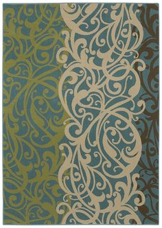 "This beautiful rug in a modern large scale, filagree damask type pattern, from HGTV HOME Flooring by Shaw ""Delilah"" is a must have!  It is made from recycled soda bottles!"
