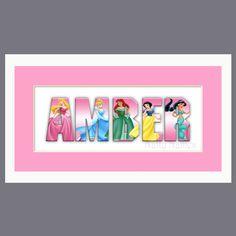 Disney Princess Custom Name Sign in Pink - Framed. $24.00, via Etsy.