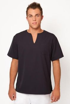 SPA MAN 02 Tunic  Complete your look, smart mens tunic with V-neck in cool comfortable wash and wear fabric.  Front pocket  Available in black white or taupe.  Sizes small mens, medium, large extra large and xx-large.