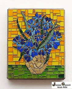 SOLD! #VanGogh #Irises #Glass #MosaicWall Art by JoGranadosMosaics on Etsy