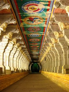 Corridor of Ramnathswamy Temple, the largest in the world in Rameshwaram, India