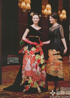 I love these dresses. The maker really knows how to accent the kimono fabric. #japan Asian inspired fashion