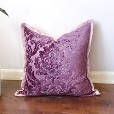 Plum Purple Damask Pillow, Pillow with Flange, Royal Purple Damask Chenille Accent Pillow Cover,  Pale Pink,