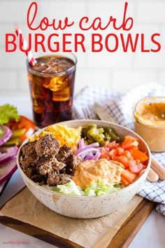 These Keto Burgers in a Bowl are the perfect low carb burger for summer! Made with juicy homemade burger patties, lettuce, cheese, pickles, tomatoes, onions and a secret burger sauce! Recipe from thebusybaker.ca! #keto #burgers #lowcarb #barbecue #summerrecipe #dinner #easytomake #recipe Healthy Salad Recipes, Lunch Recipes, Beef Recipes, Sandwich Recipes, Drink Recipes, Healthy Eats, Low Carb Burger, Keto Burger, Homemade Burger Patties