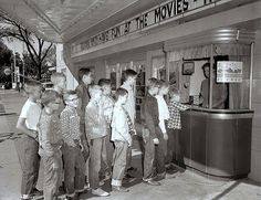 """Buddies at the movies. Iowa, 1957. Looks like the """"team"""" from The Sandlot!"""