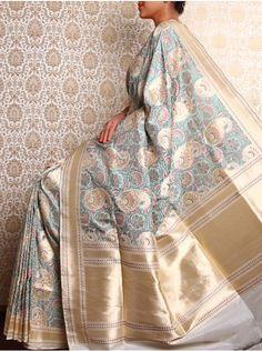 HolyWeaves Cream Jamdani Banarasi Silk Saree