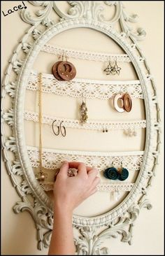 Recycle to make earring holder. Ive used plain picture frames, but I LOVE this antique frame!
