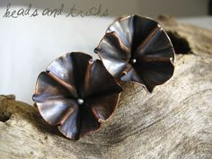 Copper and sterling silver foldformed earrings. Handmade by Beads and Tricks