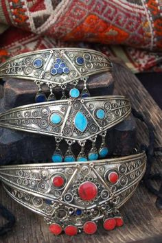 Tribal silver chokers: Lapis Lazuli, Turquoise, and Coral. #jewelry #boho #necklace