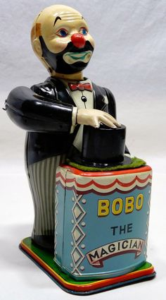 Nomura Bobo the Magician Wind up toy from 50s. Mano d'Oro collection.            www.manodoro.fi