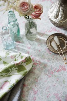 Floral fabrics from Blendworth's SS16 Mystical collection. Dining room scene.
