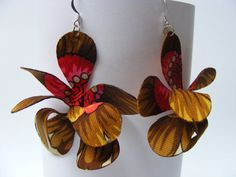 Shop for earrings on Etsy, the place to express your creativity through the buying and selling of handmade and vintage goods. Fabric Earrings, Different Flowers, Orchids, Drop Earrings, Create, Trending Outfits, Unique Jewelry, Handmade Gifts, Etsy