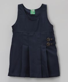Take a look at the Navy Pleated Button Jumper - Girls on #zulily today!