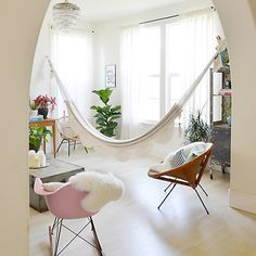 Hammocks have often been ignored as possible ornaments that can be used when redecorating a house.here are our 25 Indoor Hammocks Design Ideas