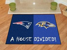 "NFL House Divided - Patriots / Ravens House Divided Mat 33.75"""" X 42.5"""""
