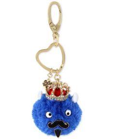 Betsey Johnson Gold-Tone Blue King Furry Keychain