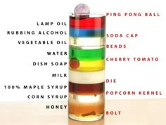Stacking 9 liquids of various densities, seeing where different objects float...